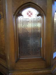 1st World War Memorial on pulpit at St Matthew's