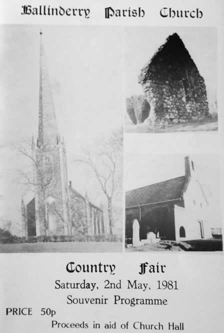 Ballinderry Parish Church Souvenir programme 2nd May 1981