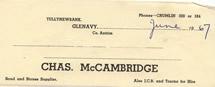 Charles McCambridge receipt June 1967