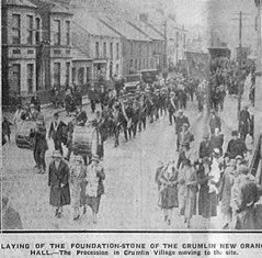 The Laying of the foundation stone at Crumlin Memorial Hall on 18th April 1927