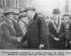 Laying foundation stone of Crumlin Memorial Hall in 1927