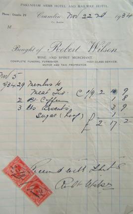 Pakenham Arms Hotel & Railway Hotel, receipt
