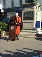 Lisburn Mayor, Ronnie Crawford making his speech