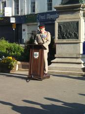 Colonel Philip Thorpe making his speech