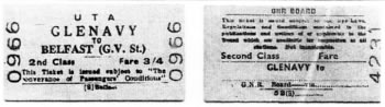 Tickets from the Antrim Line from the Ulster Transport Authority and GNR