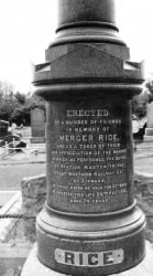 Memorial at Lisburn Cemetery erected to the memory of Mercer Rice former station master at Lisburn