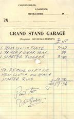 The Grand Stand Garage receipt