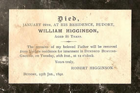 Death Notice Card for William Higginson