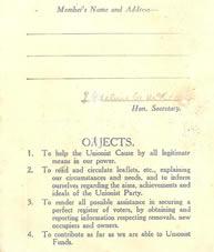 Old Unionist Membership Card