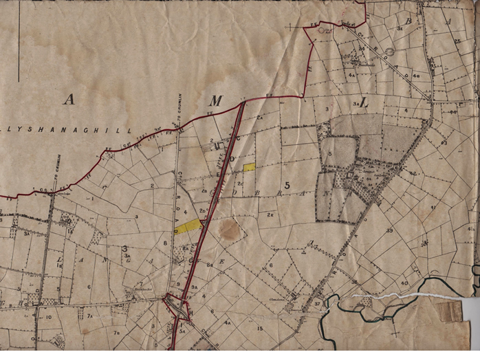 The 1877 estate map of Sir Richard Wallace showing part of Gobrana and Ballydonaghy