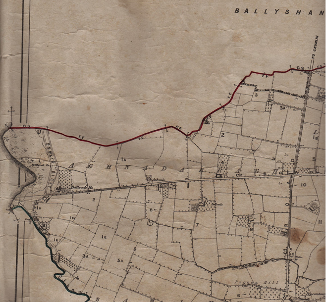The 1877 estate map of Sir Richard Wallace showing part of Aghnadarragh and Ballyvollen