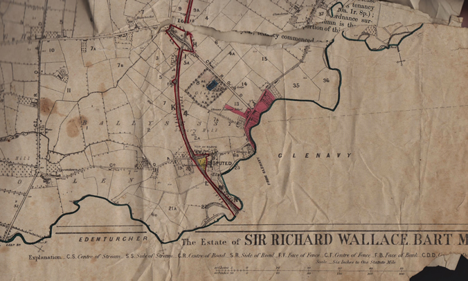 The 1877 estate map of Sir Richard Wallace showing part of Ballysessy and Ballyvollen