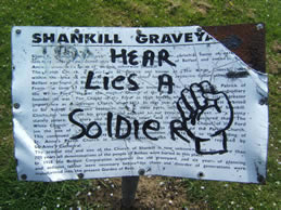 The notice in the graveyard destroyed by vandals (2010)