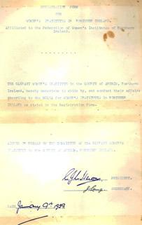 Registration form for Glenavy W.I.