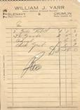 William J Yarr receipt dated 1950s