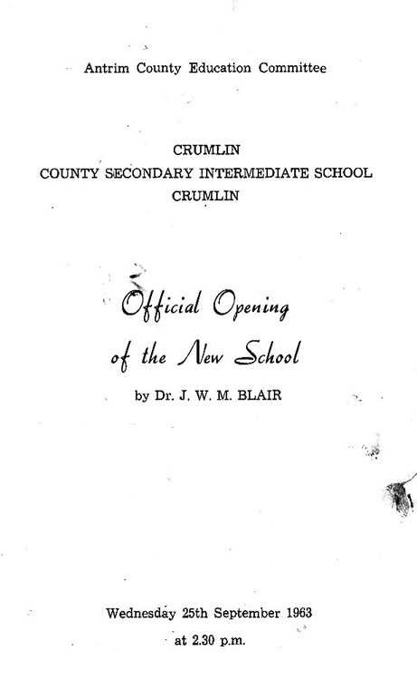 Programme from opening of the school 25 Sept 1963