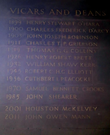 A list of  Vicars and Deans at St Annes Cathedral, Belfast