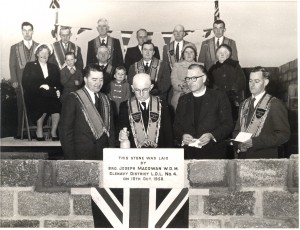 The laying of the foundation Stone at Crew Orange Hall 18th October 1958