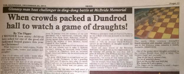 Glenavy Man beat challenger in ding-dong battle at McBride Memorial <br /> - when crowds packed a Dundrod hall to watch a game of draughts!