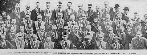 A meeting of the County Antrim Grand Lodge of Ireland in 1932 at Glenavy.<br /> County Grand Officers and brethren are photographed prior to the half yearly meetings
