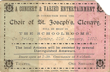 A ticket from 1890 for a concert in St Joseph's, Glenavy
