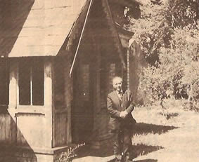 Dr. Gallagher pictured outside Dr. Mussen's house in the Glenavy area