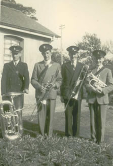 Members of Pakenham Silver Band outside Station House, Glenavy
