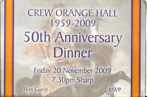 Crew LOL 124 ticket re 50th anniversary of the hall opening 20th November 2009