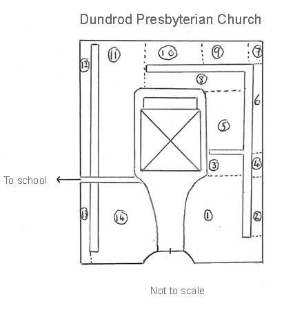 Map of Dundrod Presbyterian Burial Ground